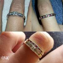 Diamond Engagement Ring with Diamond & Ruby Wedding-Band