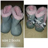 Size 2 boots. Pink and grey