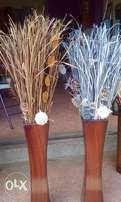 wooden vase with flax grass flower