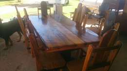 8 seater Sleeper wood dining table