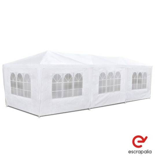 Sale carpa eventos lona blanca con ventanales de 3x9m industrial