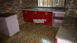 Red and white kitchen cabinet