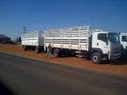 Isuzu FXR 17-360 Cattle truck with Draw bar Trailer