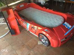 car bed, mattress, bed cover and display shelf