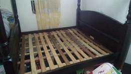 6x6 King size hard wood bed, with ply wood on top.