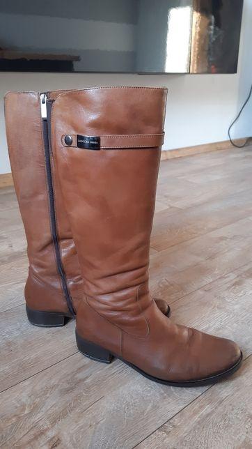 Skórzane buty kozaki lasocki ccc karmelowe brązowe rozm 40