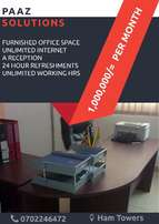 Fully furnished office space with free WIFI & Reception.