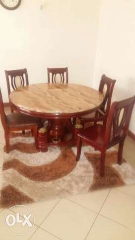 Marble Imported Dining Table With Six Chairs