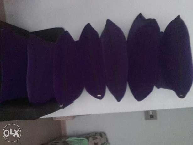 L seven Sitters Soffer on sale . Black in colour Purple BIG cushions . Mtwapa - image 4