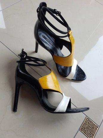 a562c1cc171379 Zara śliczna sandały na szpilce 3 kolory skóra nat 40 Brzesko - image 1