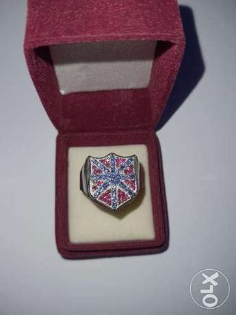 Natural Blue Sapphire/Ruby British Flag design - Silver Ring