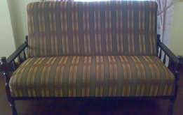 [Used] Mvule Wood (Antique) 3pcs Sofa Set (1 Big and 2 Small)