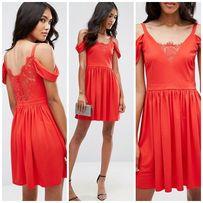 259597ab3d ASOS Sukienka czerwona koronka opadające ramiączka wesele 36 S