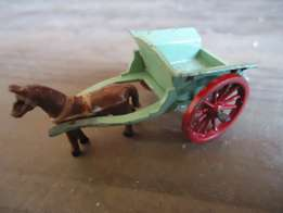 Benbros hay cart with replacement Lesney custom painted horse .