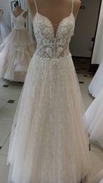 f38b315d3b Morelowa suknia ślubna z brokatem 38 40