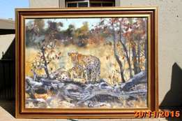 Original Leopard painting by James Straud for sale