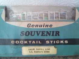 genuine old nautical cocktail sticks. FULL SET. the ss southern cross
