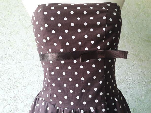 d56971d626 Sukienka koktajlowa brązowa w białe grochy tiul rozmiar XS S Myślibórz -  image 3