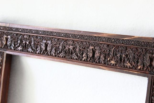 Ogromny Drewniana rama na obraz ramka rzeźbiona 30x40 płaskorzeźba TI11