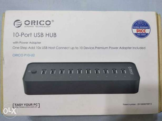 USB Hub 10 Ports with External Power Adapter 12V - 2.5A