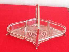 Silver plated basket with glass compartments