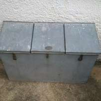 Galvanised Meal Bin Antique Storage for dry goods, 3 compartment