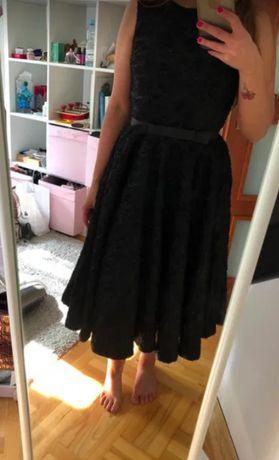 Czarna sukienka midi retro Audrey Hepburn S 36 Mohito
