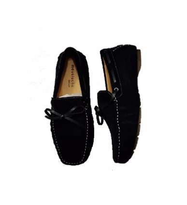Men's Suede Lace Tie Closure Boat Shoes - Black Surulere - image 1