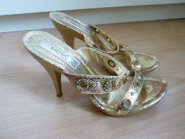 5d1cfdea7e58be Złote klapki sandały na obcasie platformie 37 + gratis Słupsk - image 4