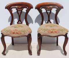 2 Antique Edwardian Carved Dining Room Chairs with Tappiserie