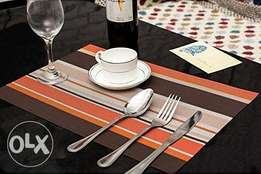 Brown/Orange Stripped Table Mats – 6 Piece Pack