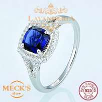 Dark blue cubic zircon gem genuine silver engagement ring for ladies