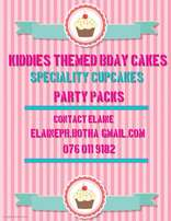 Themed birthday cakes, speciality cupcakes, party packs etc