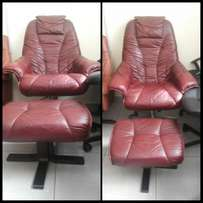 German Executive Recliner pure leather with leg rest at 37k