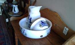 3Pce Enamel Basin, Jug and Potty (Waskom en bekker)