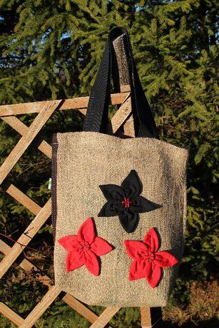 Torba z jutowego worka po kawie na ramię kwiaty Zielona Góra
