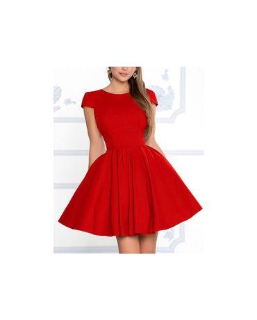 Czerwona sukienka rozkloszowana lou sukienkowo nowa czerwona