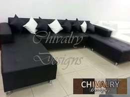 The Black U Shaped Couch from Chivalry Designs for only R5200