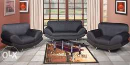 Black suede 3 piece lounge suite