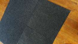 Carpet tiles, blue and gray