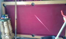 Oak Pool Table With Accessories