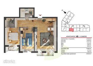 Apartament 3 camere, 75.68 mp, semifinisat, zona strazii Fabricii!