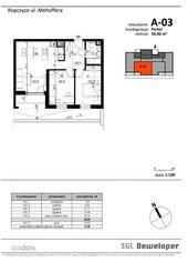 56,96 m2 mieszkanie 3 pokojowe z tarasem