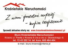 To ogłoszenie dom na sprzedaż jest promowane przez jedno z najbardziej profesjonalnych biur nieruchomości, działające w miejscowości Iwonicz-Zdrój, krośnieński, podkarpackie: BIURO KROŚNIEŃSKIE NIERUCHOMOŚCI