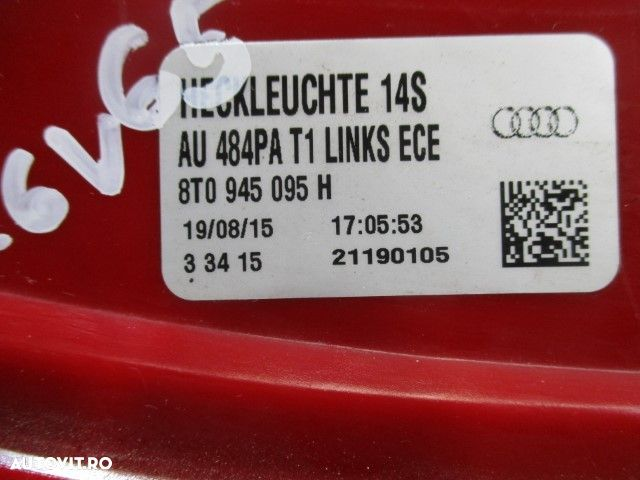 Stop stanga Audi A5 LED CABRIO An 2013-2016 cod 8T0945095H - 2