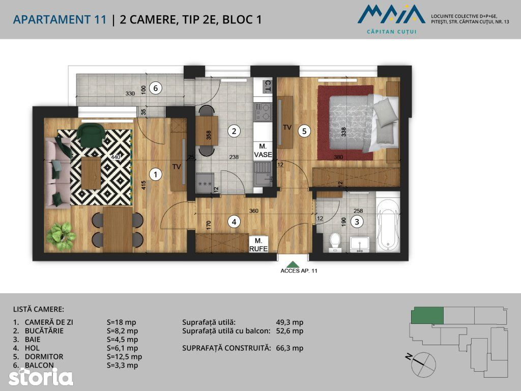Apartament de vanzare, Pitesti, Arges, Negru Voda - Foto 2
