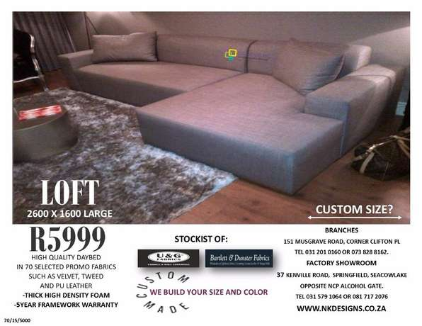 The Loft daybed with 2 seat sofa direct from factory Durban - image 3
