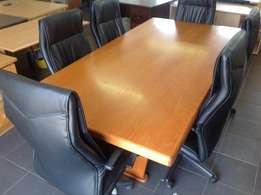 Cherry wood veneer board room table
