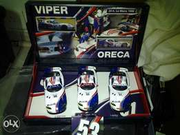 fly slot car collection for sale.team viper oreca,1998 3 car display