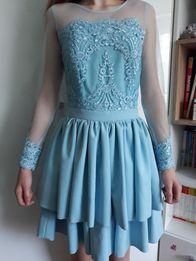 3600ddb022 Sukienka lou niebieska falbany koronka S 158 164 cm